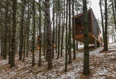 Completed in 2014 in Farmington, United States. Images by Paul Crosby Photography, Pete VonDeLinde. Nestled into the hillside of a new regional park within the Minneapolis/St. Paul metropolitan area, three new camper cabins - built by county...