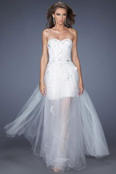 2014 Pretty Sweetheart Embellished Bodice With Applique And Beads Floor Length Tulle Prom Dress