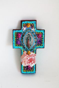 Rustic Our lady of Guadalupe image on wooden cross / turquoise vintage image / Mary // one of a kind art / summer trends wedding gift