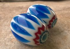 Blue Chevron Beads,Trade Beads,34 mm Medium Glass Layered Beads,African Trade Beads, Glass Beads,Craft Supplies,Bead Supplies, Old Beads by RedEarthBeads on Etsy