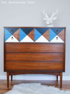 painted furniture dresser geometric mid century, home decor, painted furniture, repurposing upcycling