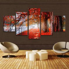 5Pcs Unframed Autumn Red Tree Abstract Canvas Wall Painting Picture Home Decor