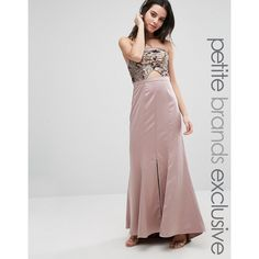 True Decadence Petite Bandeau Maxi Dress With Cutout Bodice And Train... (£95) ❤ liked on Polyvore featuring dresses, gold, petite, strapless cocktail dresses, sequin cocktail dresses, petite dresses, cut out dresses and strapless sequin dress