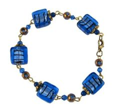 """Bracelet - B69 - Murano Style Glass - Squares ~ Sapphire Serenity Crystals, Inc.. $11.95. Easy to wear!. Absolutely gorgeous!!. Bracelet measures 7 7/8"""" with 2"""" extension chain.. Made with beautiful Murano style square shaped glass beads & fire-polished glass beads."""