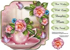 - This lovely shaped topper will fit on an card front. It has five greetings. The greetings are best wishes, with love, d. Flower Tree Image, Flower Art, 3d Sheets, 3d Cards, Vintage Cards, Cross Stitch Patterns, Retro, Cardmaking, Tea Party