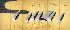 Suzuki Kiitsu 鈴木其一 群鶴図屏風 左隻