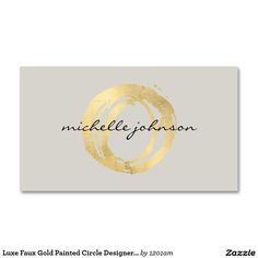 Luxe Faux Gold Painted Circle Designer Business Cards - Ready to customize - Great for interior designers, fashion boutiques, style bloggers, life coach, jewelry designers and more.