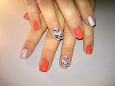 Southwest theme nails! Acrylic nails with free hand nail art on ring fingers and gel top coat.