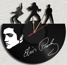 Elvis Presley Theme Vinyl Record Clock Upcycled Vinyl Record....... Love the stencil Elvis face...