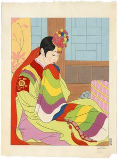 ✯ Japanese Art ..Colorful Fabrics..  Jacoulet LaMariee✯