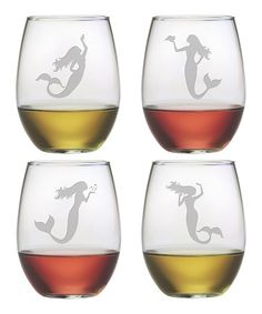 Mermaid Stemless Wineglass - Set of Four #zulily #zulilyfinds