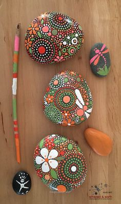 Nice Hand Painted River Rocks, Rock Art, Painted Stone, Natural Home Decor, Nature Art, Flowers & Dragonflies. – $36.00 – ethereal & earth – otherworldly & of this world c ..