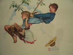 Norman Rockwell Print Boy and Girl Swing | eBay