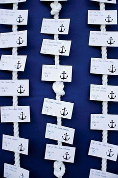 Wedding Ideas by Colour: Blue Table Plans - Praias - - Yacht Wedding Ideas - Yacht wedding Wedding Tags, Wedding Ideas, Diy Wedding, Wedding Favors, Wedding Beach, Wedding Events, Nautical Wedding Theme, Nautical Wedding Centerpieces, Anchor Wedding