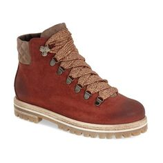 """AGL Attilio Giusti Leombruni Hiker Boot, 1 1/2"""" heel (365 CAD) ❤ liked on Polyvore featuring shoes, boots, ankle booties, brick nubuck leather, metallic booties, short lace up boots, platform bootie, metallic ankle boots and platform boots"""