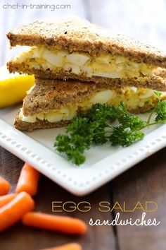 Egg Salad Sandwich Recipe - a great way to use up some hard boiled eggs. Whips up in minutes and is SO delicious! Egg Salad Sandwiches, Soup And Sandwich, Wrap Sandwiches, Sandwich Recipes, Mayo Sandwich, Cuban Sandwich, Great Recipes, Favorite Recipes, Breakfast Desayunos