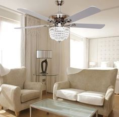 european minimalist fashion fan ceiling fan light led crystal chandelier modern style in ceiling fans