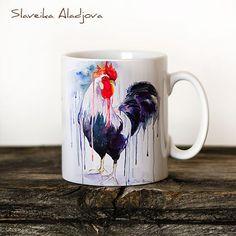 Rooster  Mug Watercolor Ceramic Mug Unique Gift Coffee by SlaviART