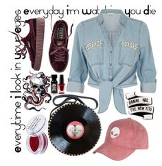 """""""Kill RockNRoll"""" by flami-mcr ❤ liked on Polyvore featuring Puma, River Island, Obsessive Compulsive Cosmetics and OPI"""