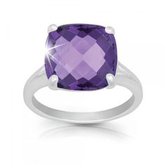 R028032 - Sterling Silver and Large Amethyst Ring
