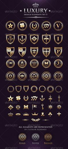 Vector Luxury VIP Design Elements Set 3 by subtropica 25 already made strong graphic emblems 31 components, that you can mix in numerous combinations! Fashion Logo Design, Web Design, Vector Design, Icon Design, Luxury Logo Design, Poster Text, Boutique Design, Grafik Design, Coat Of Arms