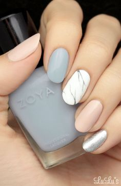 Marble and neutral mani. Grey, nude, silver and white nails. Zoya nailwear.