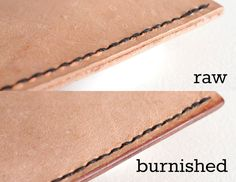 Picture of how to burnish leather edges rawvsburnished.jpg Burnishing leather edges is a great way to make a leather project look AMAZING. If you're unfamiliar with the term, burnishing is basically polishing the rough edges of the leather. Leather Art, Sewing Leather, Leather Tooling, Leather Jewelry, Leather Crafts, Custom Leather, Diy Leather Projects, Vintage Leather, Diy Leather Tools