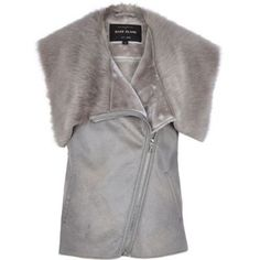 I'm shopping Grey faux fur lined gilet in the River Island iPhone app.