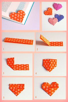 Origami Heart Bookmark Love 26 Ideas For 2019 Paper Crafts Origami, Diy Paper, Paper Crafting, Paper Art, Diy Marque Page, Marque Page Origami, Diy Bookmarks, Origami Bookmark, Bookmark Ideas