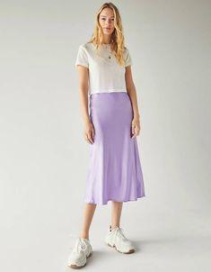 416de0fd6413 Neon satin midi skirt | Bershka #bershka #bershkacollection #newin #new  #trend