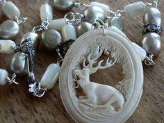My Deer  Antique Carved Bone Deer Pendant Pearls by WhatOnceWas, $192.00