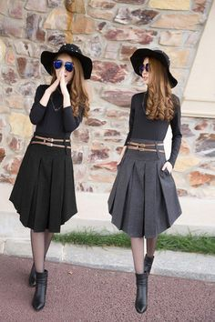 New Retail 2 Color Solid Irregular Pleated Skirt-Dress-SheSimplyShops Fall Fashion Skirts, Fashion Dresses, Fashion Top, Cheap Fashion, Pleated Skirt, Dress Skirt, Sheath Dress, Dress Outfits, Fall Outfits