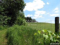 View of the countryside along a rustic fence.