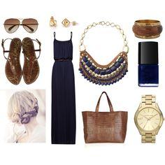 """navy blue maxi dress."" by goldiloxx on Polyvore"