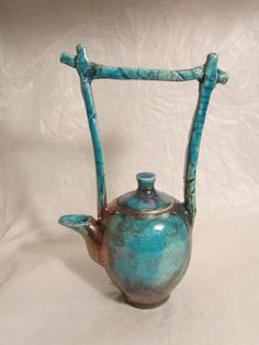 "Hand Made raku tea Pot. low fired Porcelain Ware. British Art. Made in Orkney"" by davidholmes1"