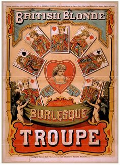 Add appeal to your visual landscape with this Global Gallery British Blonde Burlesque Troupe 1870 Wall Art . This vintage advertisement is for a burlesque. Vintage Circus Posters, Carnival Posters, Vintage Advertising Posters, Vintage Travel Posters, Vintage Advertisements, Retro Posters, Ads, Carnival Signs, Cirque Vintage