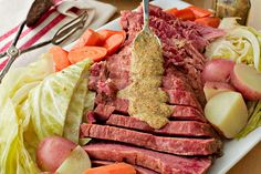 You'll love this easy Slow Cooker Corned Beef and Cabbage served straight from the pot with a dollop of whole grain mustard. Leftovers make great Reuben sandwiches! Classic Corned Beef And Cabbage Recipe, What Is Corned Beef, Corn Beef And Cabbage, Cabbage Recipes, Brisket Flat, Creamy Horseradish Sauce, Boiled Dinner, Slow Cooker Corned Beef, Beef Round