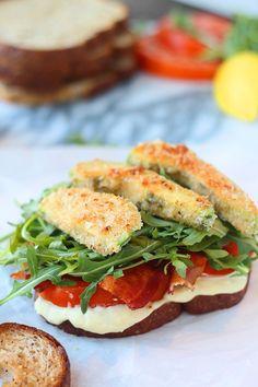 Fried Avocado Sandwiches with Bacon and Homemade Lemon Aioli