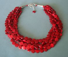 Chunky Red Mother of Pearls Multi Strand Cluster Statement Twisted Necklace. $75.00, via Etsy.
