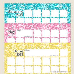 Free Printable 2013 Calendars (of all shapes and sizes)