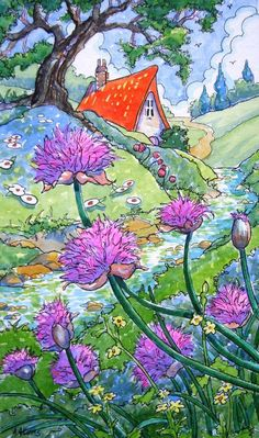Purple Chives Storybook Cottage Garden Note Card set of 6 - watercolor paintings - Cute Cottage, Cottage Art, Storybook Cottage, Whimsical Art, Art Images, Watercolor Art, Book Art, Art Drawings, Original Paintings