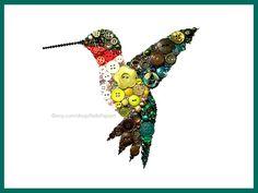Decoraciones de colibrí | Arte de la pared el botón | Decoración de colibrí | Ruby Throated Hummingbird arte | Pájaro de Swarovski | Regalos de colibrí