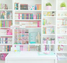 Beautifully filled pastel craft room and office VSCO Room Ideas Beautifully Craft filled office pastel room Girl Bedroom Designs, Room Ideas Bedroom, Bedroom Decor, Design Bedroom, Craft Closet Organization, Craft Room Storage, Organizing, Stationary Organization, School Organization