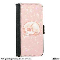 Shop Pink sparkling skull iPhone wallet case created by Metalpetaldesigns. Iphone 6 Wallet Case, Phone Cases, Skull, Sparkle, Pink, Rose, Phone Case, Glow, Skulls
