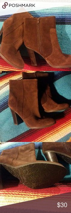Ladies fashion boots Ladies brown suede leather heeled boots Shoes Ankle Boots & Booties