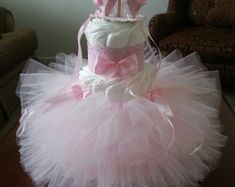 One Tier Pink And White Diaper Cake / Baby by TheCarriageShoppe
