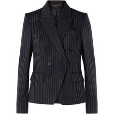 Stella McCartney Double-breasted pinstriped wool-blend blazer (5.445 RON) ❤ liked on Polyvore featuring outerwear, jackets, blazers, blazer, midnight blue, asymmetrical jacket, double breasted blazer, stella mccartney jacket, peaked lapel blazer and pinstripe jacket