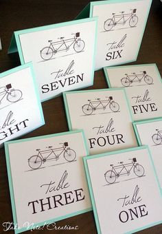 Wedding Table Numbers Tandem Bicycle by TakeNoteCreations on Etsy