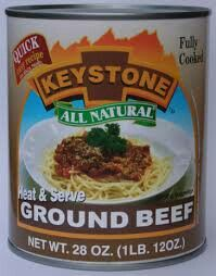 Keystone Heat & Serve Lean Ground Beef for quick and easy meals in minutes. Use the recipe on the can or one of your family favorites! Prepper Food, Survival Food, Emergency Preparedness, Backpacking Food, Camping Meals, Canned Meat, Ben And Jerrys Ice Cream, Food Storage, Ground Beef