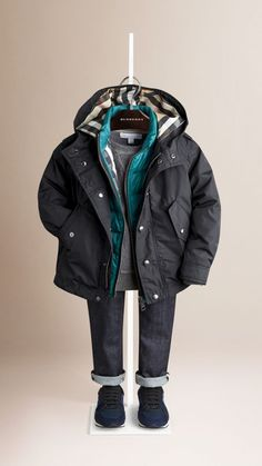 Check Detail Parka with Quilted Warmer